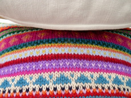 tricot, knit, fair isle, yarn, wool, laine, coussin, pillow, jacquard
