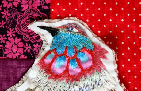 oiseau, broderie, embroidery, bird, plume, feather