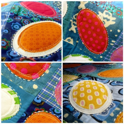 quilt, quilting, patchwork, oval, ovale, ellipse, appliqué, applique, cotton, coton, batik, chemise, shirt, blue