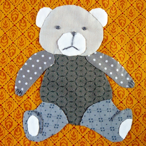 ours, teddy bear, ourson, appliqué, applique, patchwork, quilt, quilting, block