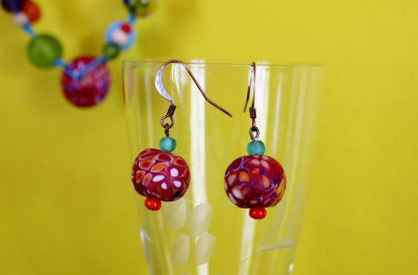 fimo, perles verre, glass beads, necklace, collier, earrings, boucles d'oreilles, polymer clay