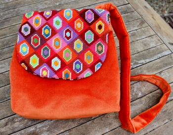 sac, bag, velvet, velours, orange, canevas, needlepoint, demi-point, broderie, embroidery