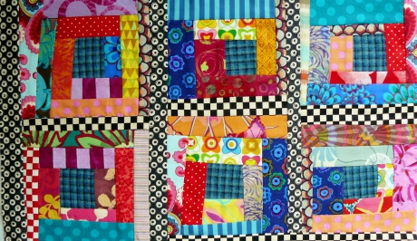 log cabin, patchwork, quilt, quilting, scrap quilt, fabrics, coton, cotton