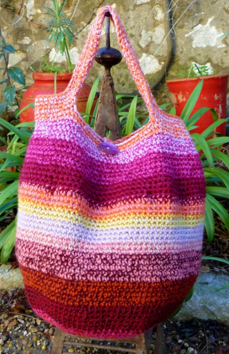 laine, wool, yarn, crochet, sac, bag, stripes, rayures, cabas